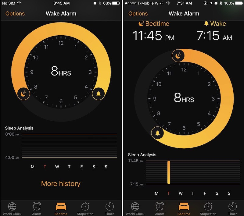 iOS 10 clock app sleep analysis
