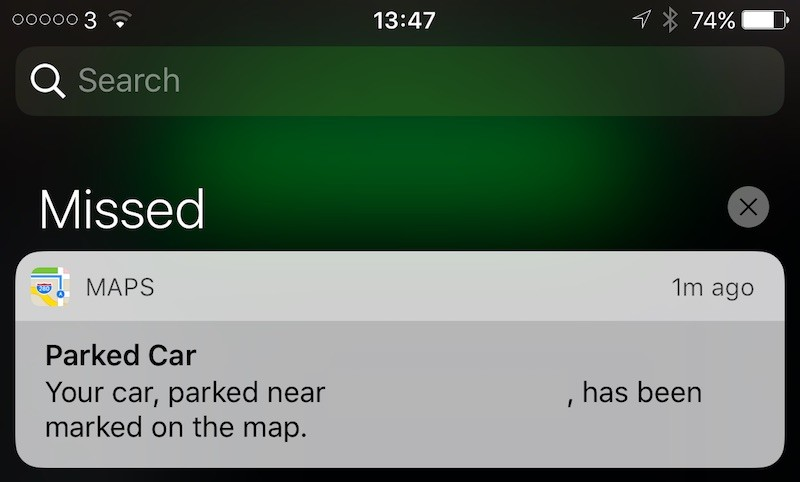 iOS 10 parked car