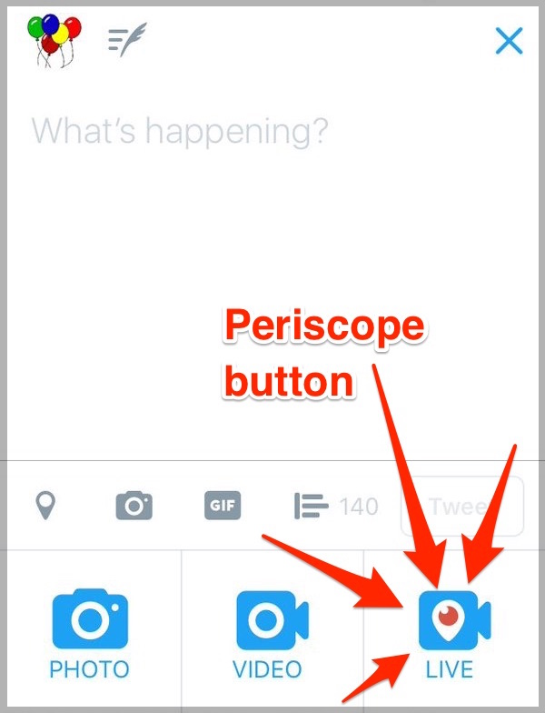 twitter go live button