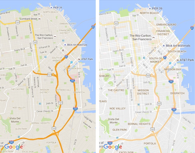 google maps the most immediately obvious visual changes include the removal of road outlines to make traffic and transit routes easier to delineate