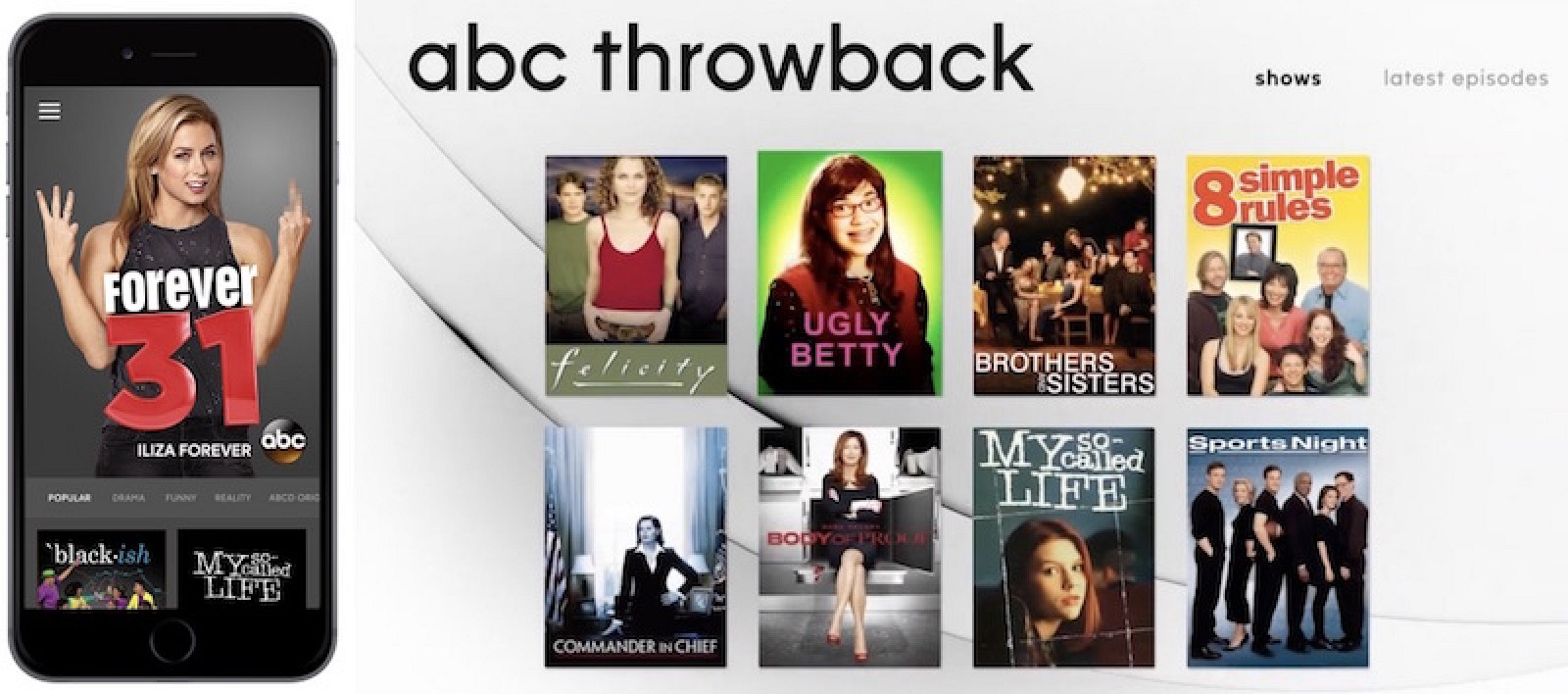 ABC Rebrands iOS and Apple TV Apps With 'Throwback' Shows