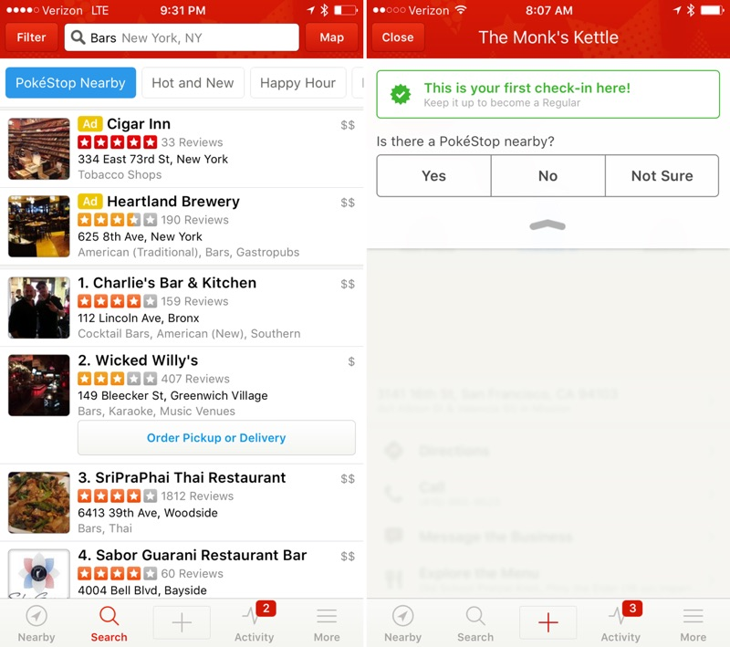 Yelp Gains New Filter for Listing Venues Near PokéStops