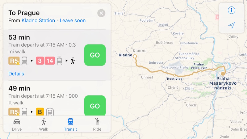 Apple Maps Transit Directions Expand to Prague, Czech ...