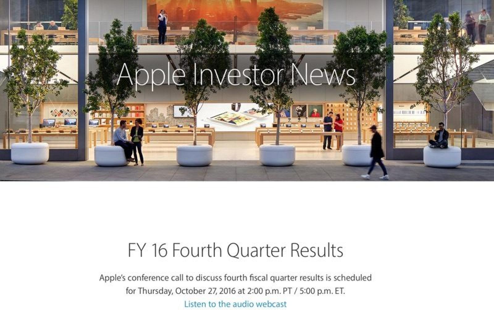 Apple to Announce Q4 2018 Earnings on November 1 - MacRumors