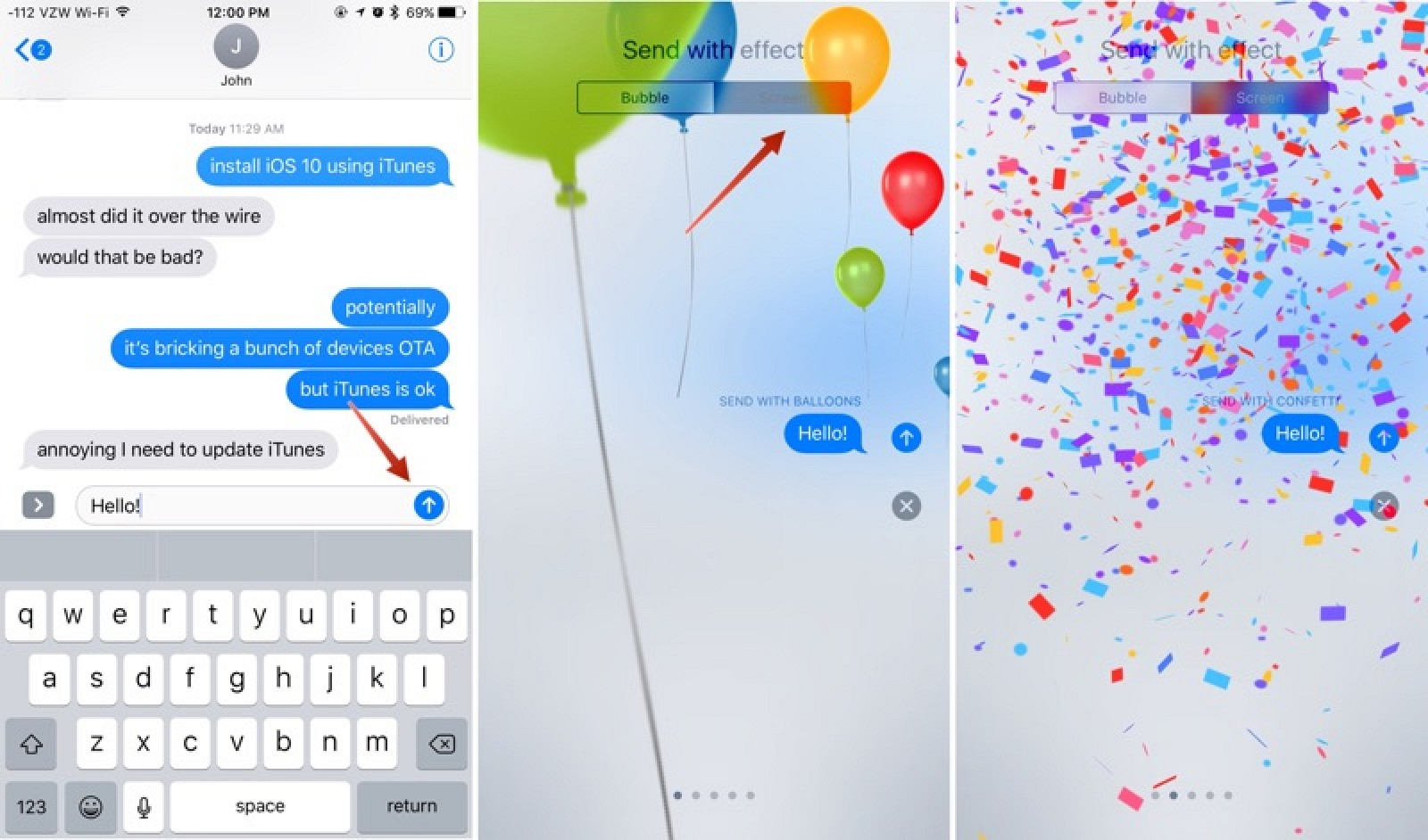 How to Use Messages' Tapback, Screen Effects and Bubble