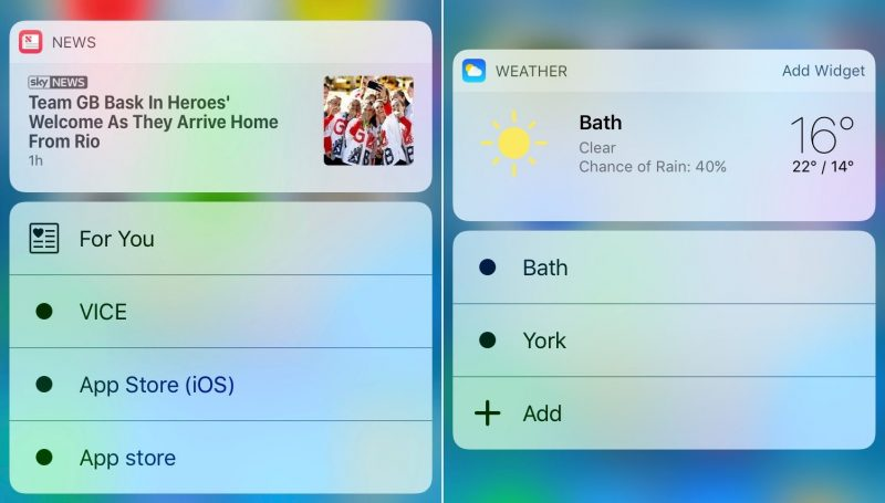 news-weather 3D Touch