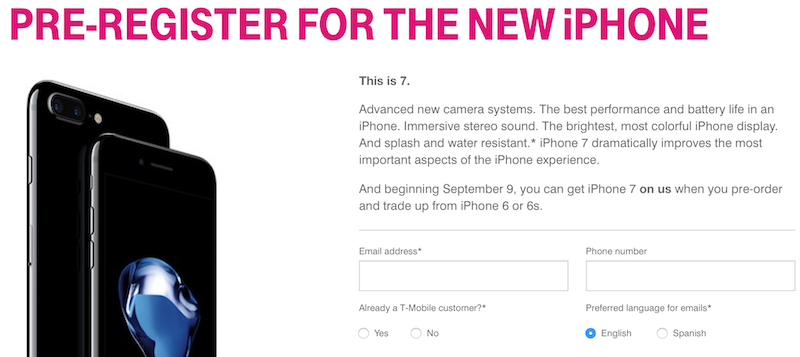 T-Mobile Offering Free 32GB iPhone 7 During Pre-Order With