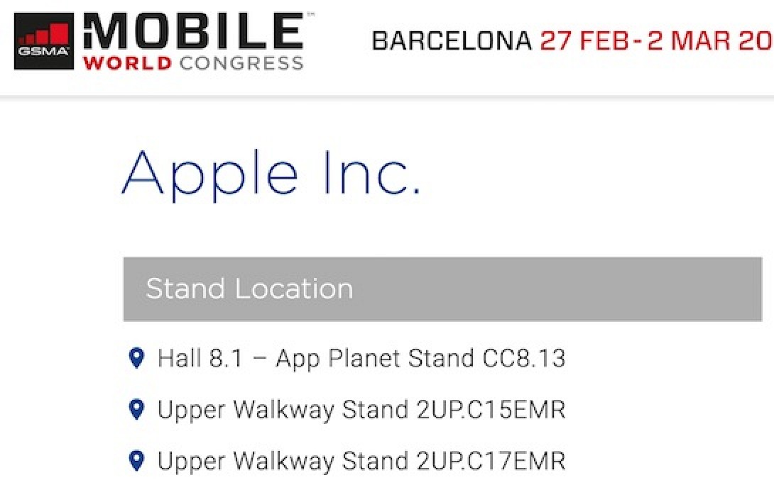 Apple Listed as 2017 Exhibitor at Mobile World Congress ...