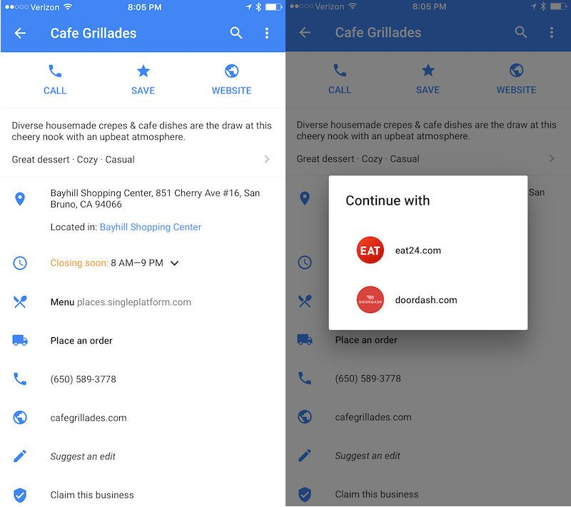 Google maps adds food delivery support in new update mac rumors googlemaps ccuart Images