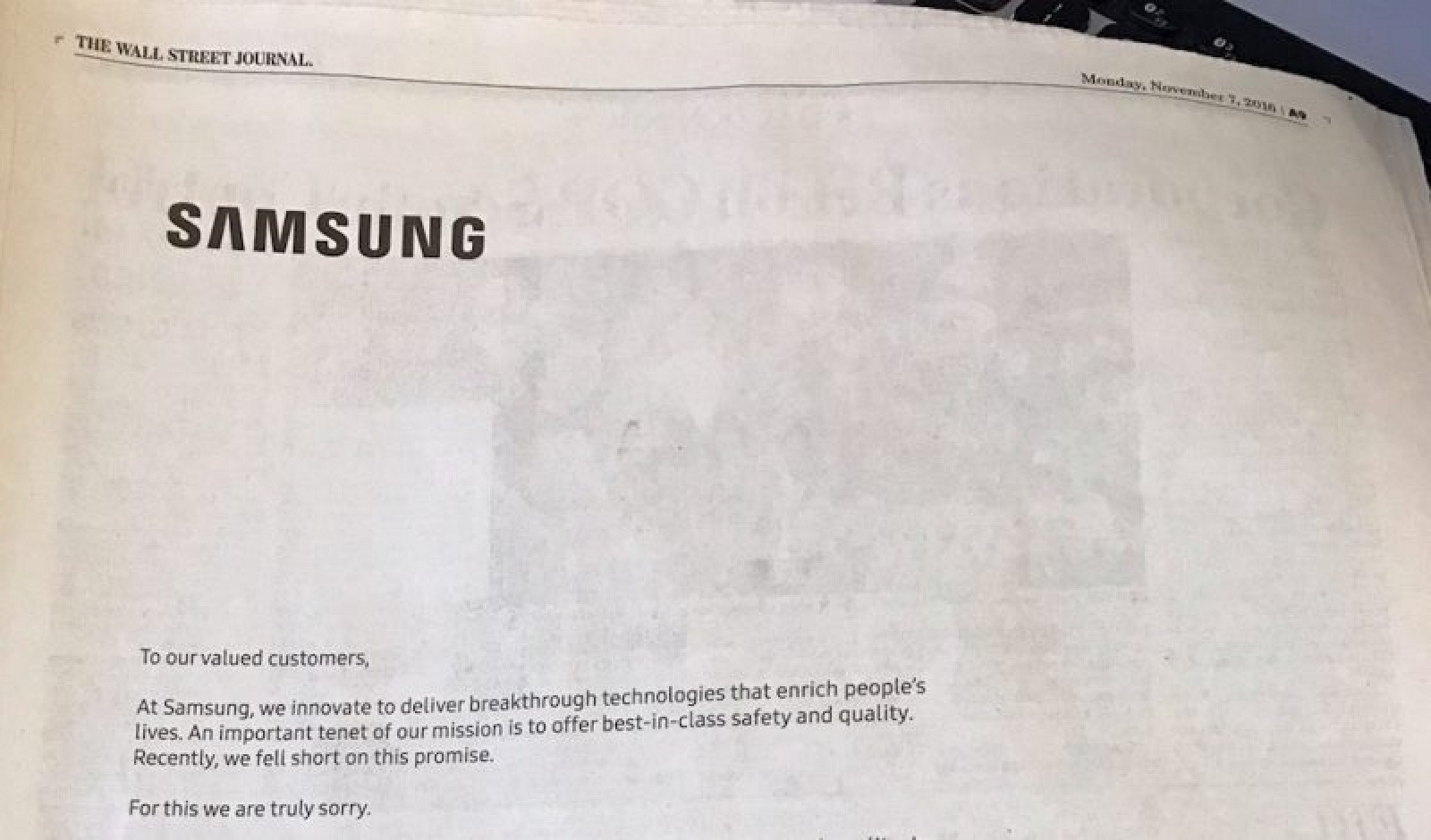 Samsung Runs Full Page Ads Apologizing To Consumers For Note 7