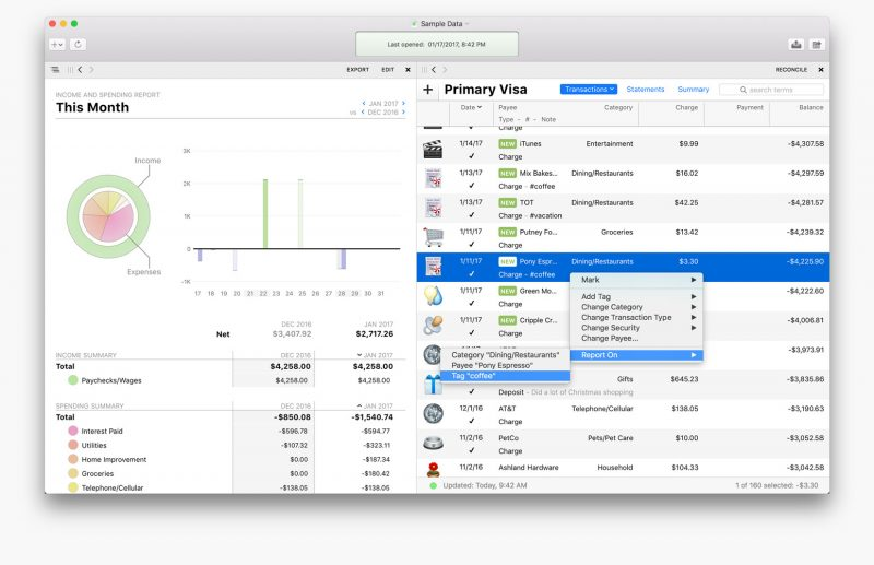 Banktivity 6 for Mac Adds Workspace, Tags, Quick Reports