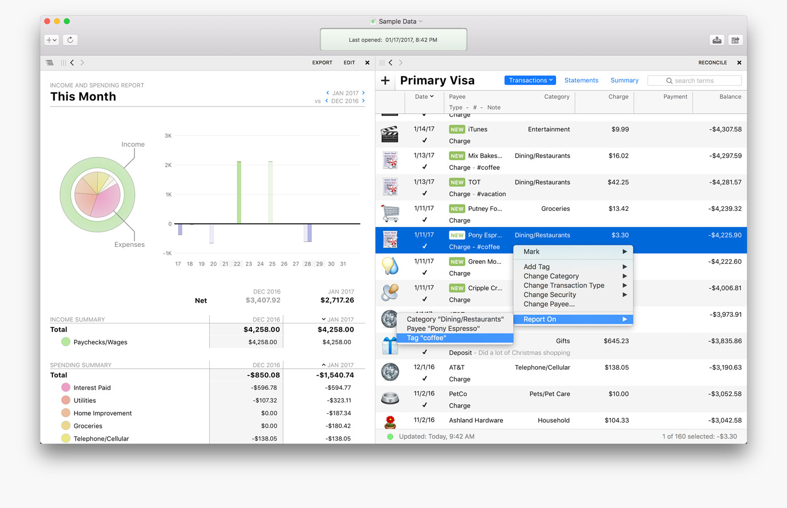 Banktivity 6 for Mac Adds Workspace, Tags, Quick Reports, and More