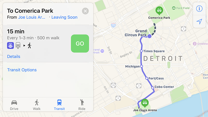 Apple Maps Now Provides Transit Directions in Detroit and Windsor