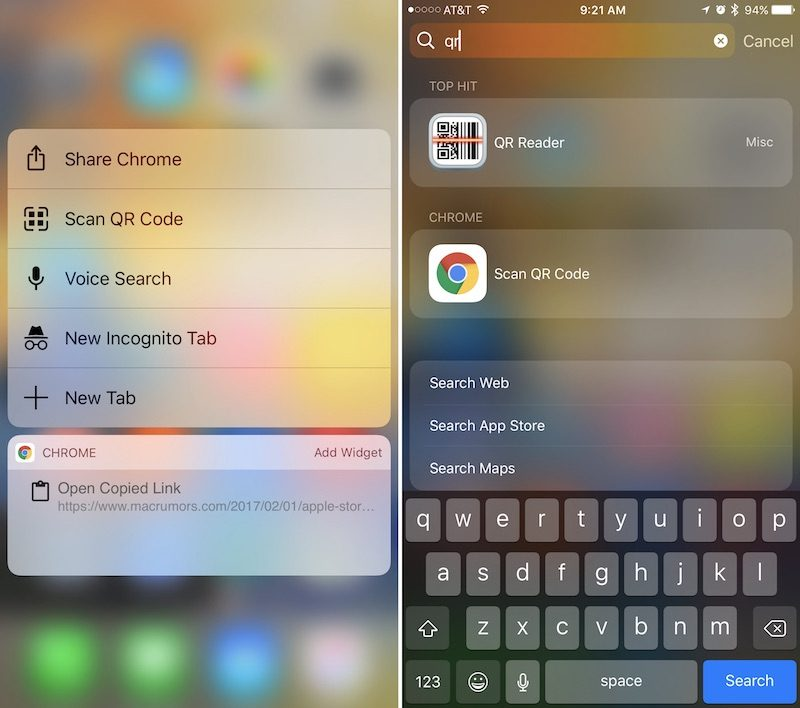 Google Chrome iOS Update Adds QR Code Scanner to 3D Touch