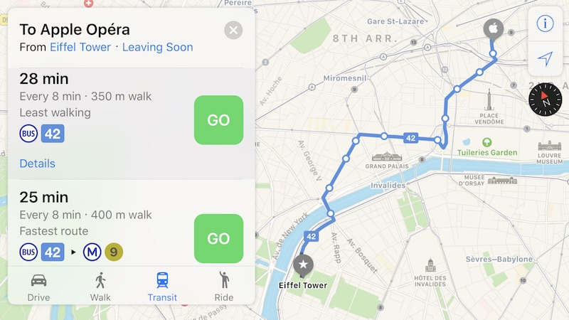 Apple Maps Now Supports Transit in Paris Mac Rumors
