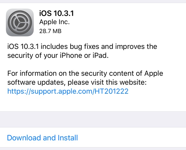 Apple vydal iOS 10.3.1 s opravami chyb