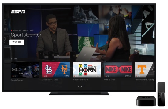 ESPN Updates Apple TV App With New Interface, Live Streaming