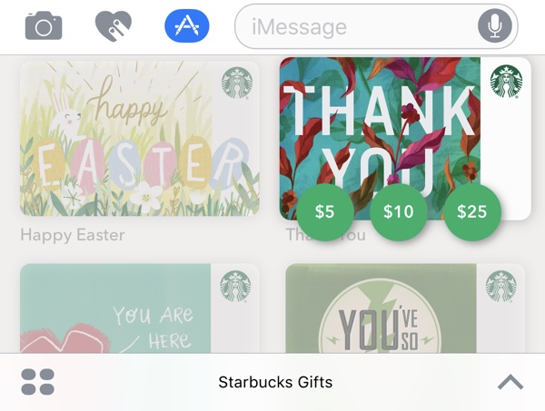 Starbucks app for ios gains support for imessage gift cards mac rumors sending a gift card requires apple pay which is used to pay for the gift card directly in the messages app charging the amount to an apple pay credit or negle Gallery