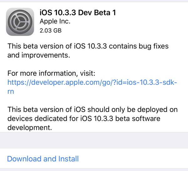 Apple vydal 1. bety iOS 10.3.3, macOS 10.12.6, tvOS 10.2.2 a watchOS 3.2.3 pro vývojáře