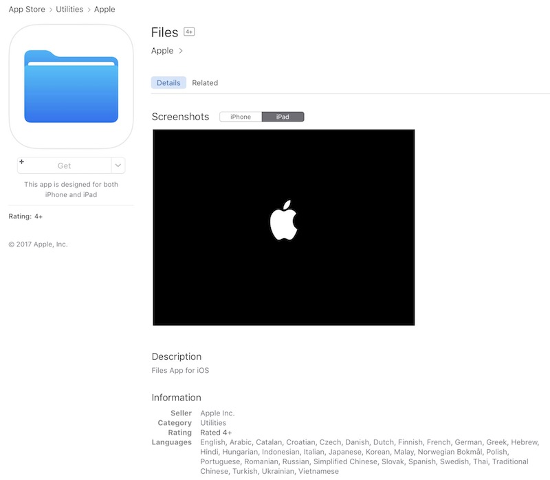 Placeholder for iOS 11 'Files' App Goes Live on App Store - MacRumors