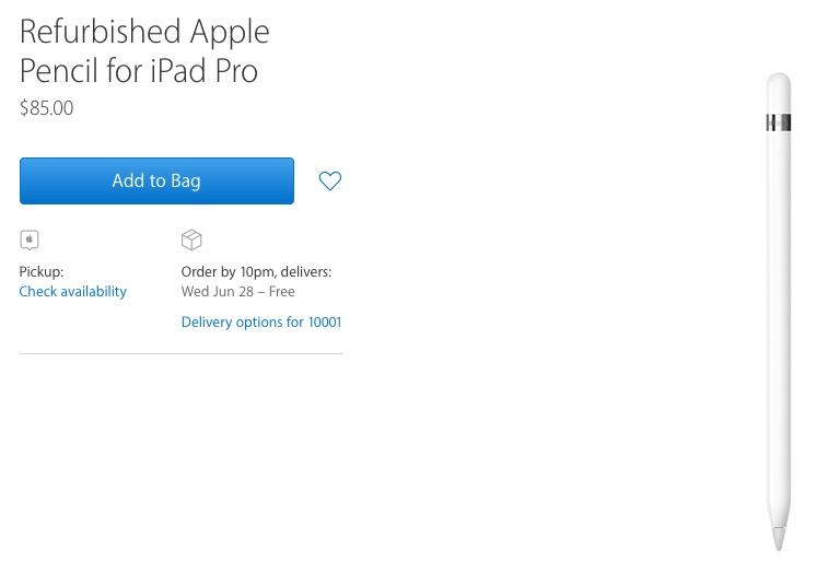 Apple Begins Selling Refurbished Apple Pencil for $85