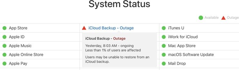 Apple's iCloud Backup Service Experiencing Outage - MacRumors