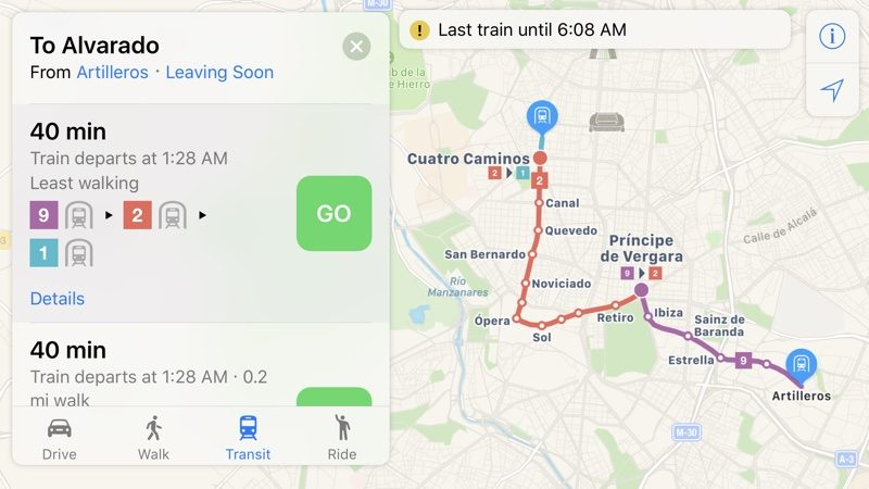 Apple maps transit directions start rolling out in madrid mac rumors madrid does not however have full transit routes visible in the maps app as of yet so transit support is still rolling out gumiabroncs Images