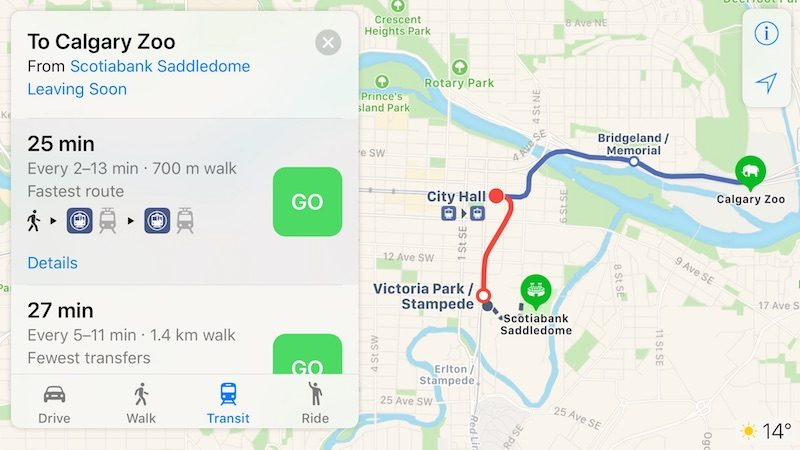 Apple Maps Transit Directions Now Available in Calgary and Southern