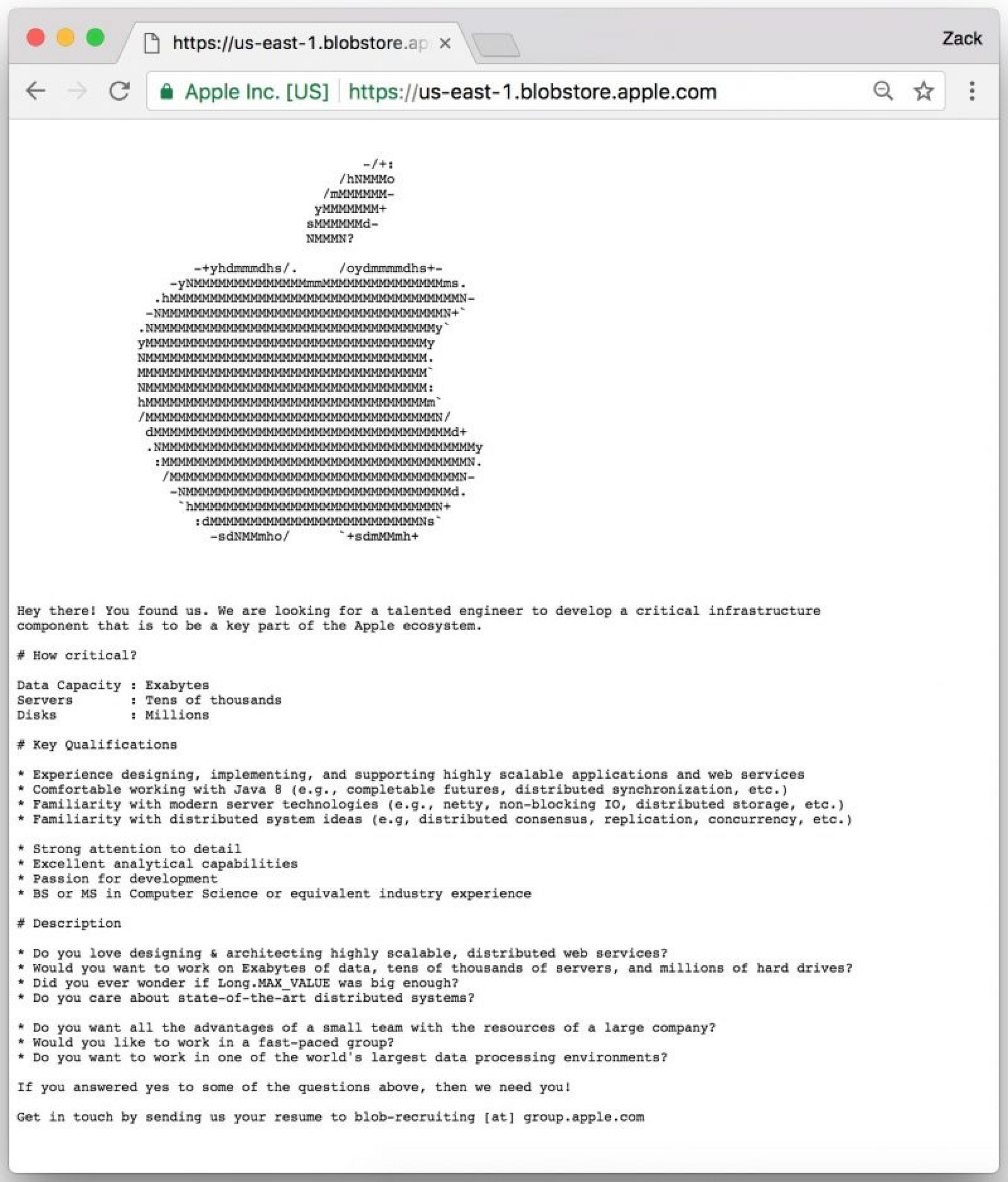 apple uses hidden web page to recruit for a critical cloud infrastructure role mac rumors