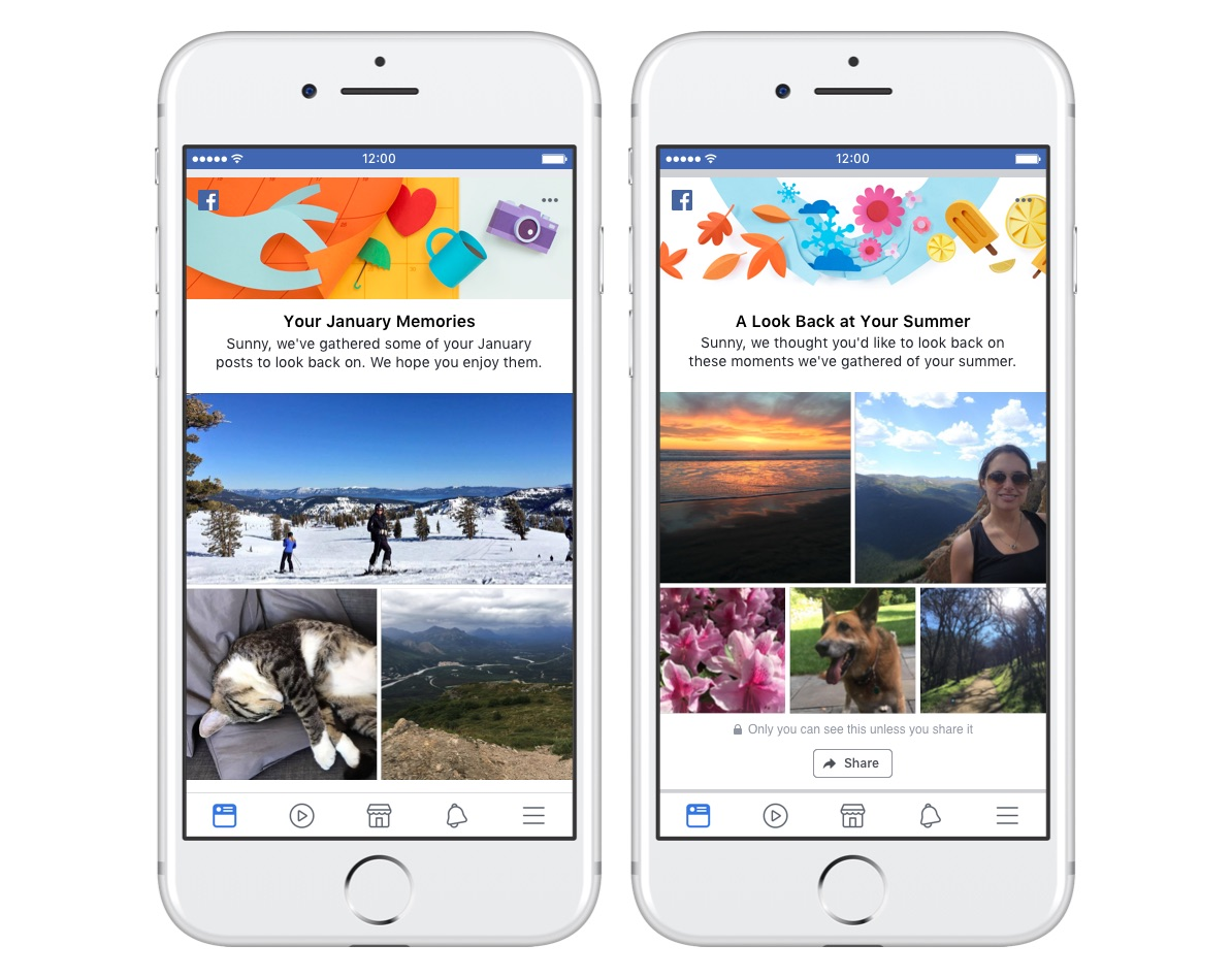 Similar to On This Day, monthly and seasonal recaps will appear on user  News Feeds and can be shared with their friends.