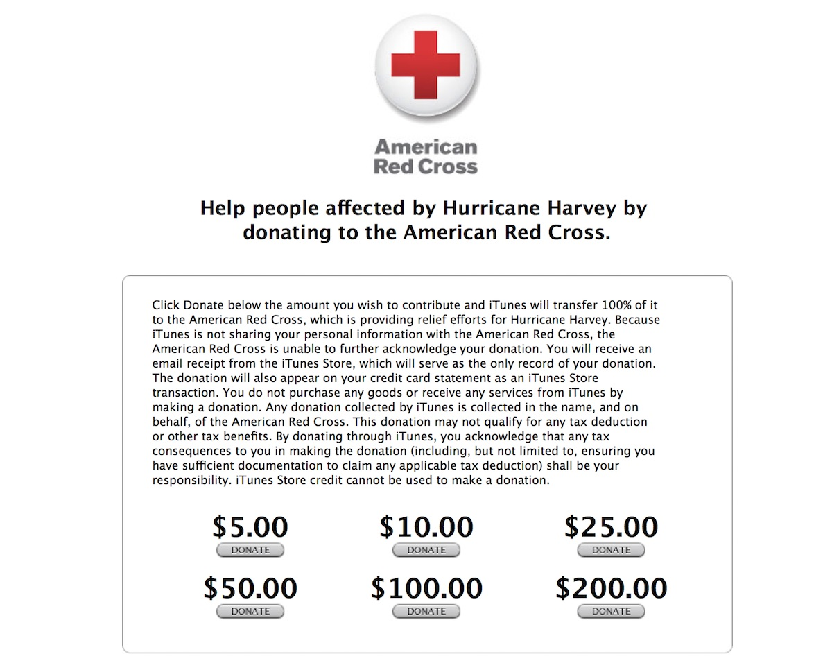 Apple accepting donations for hurricane harvey relief efforts users can choose to donate 5 10 25 50 100 or 200 and apple will transfer 100 percent of the proceeds to the american red cross xflitez Images