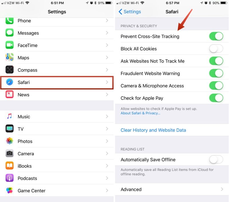 Image result for enable Prevent Cross-Site Tracking on apple""