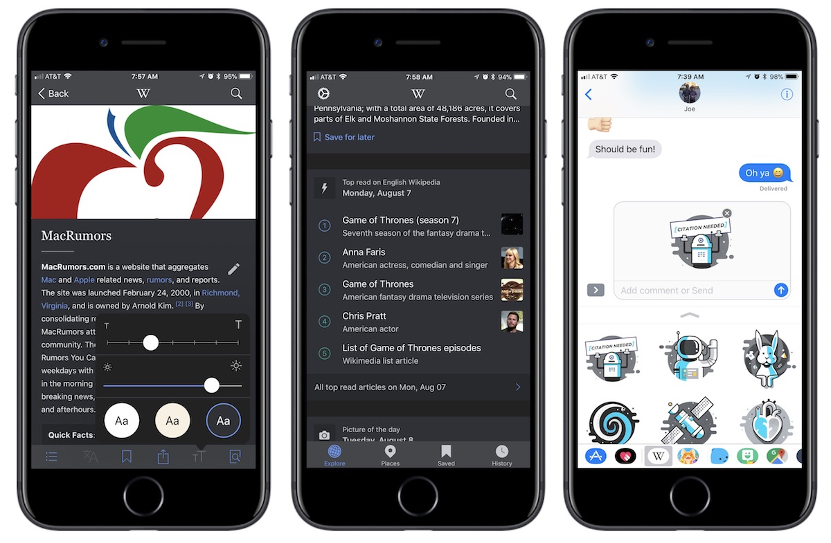 Official Wikipedia App for iOS Introduces Dark Mode and iMessage Sticker Pack