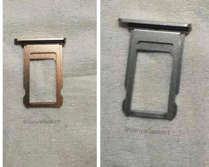 The Images Were Shared By Benjamin Geskin And Depict Two IPhone SIM Card Trays In Gold Silver Purportedly Destined For Apples So Called 8