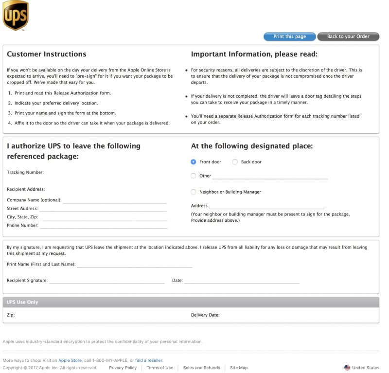 ups signature release form Reminder: How to Pre-Sign for Your Delivery of New Apple Products ...