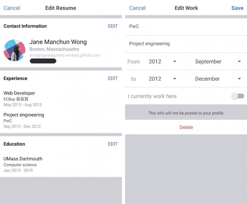 Facebook Begins Testing Rsum Work Histories Feature on Mobile
