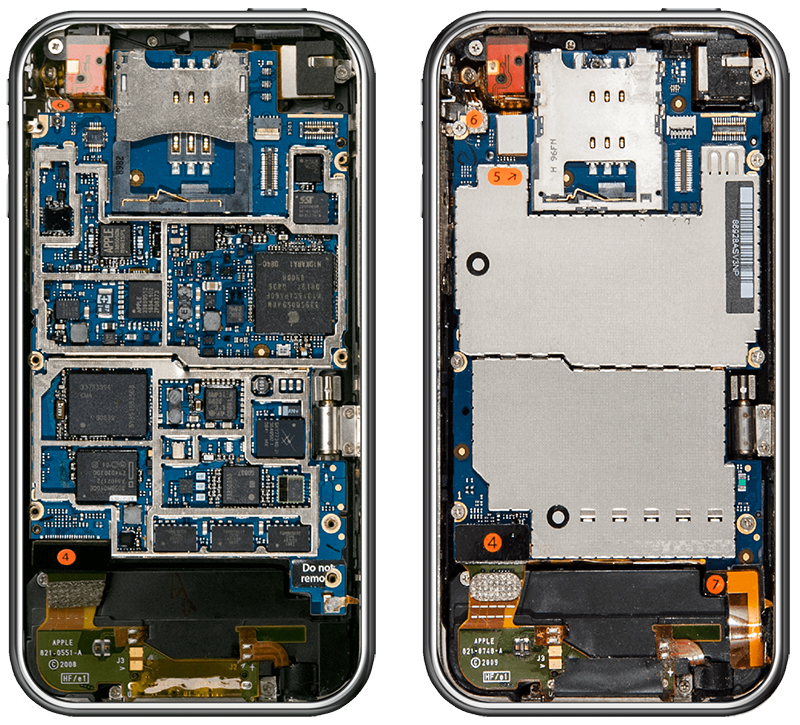 IPhone 3G On Left Vs 3GS Right Via Bloomberg While Weve Already Seen The Inside Of Every Model Thanks To IFixits Teardowns Over