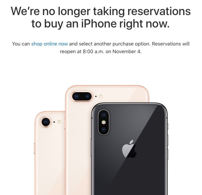 Apple to Reopen iPhone X Reservations Starting November 4 Outside of
