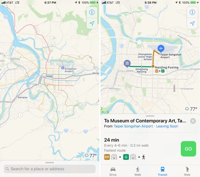 Apple maps transit directions now available in taiwan mac rumors apple maps transit directions now available in taiwan gumiabroncs Images