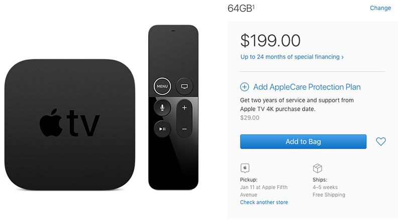 Apple TV 4K With 64GB Storage Faces 4-5 Week Shipping Delay - MacRumors