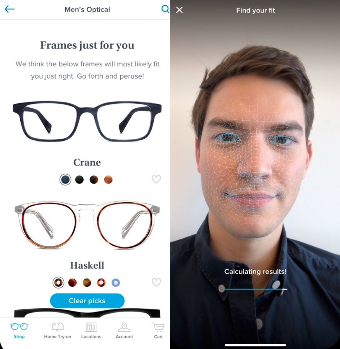 7cb5f1b10e87 Warby Parker App Uses iPhone X TrueDepth Camera to Find Your Ideal Specs -  MacRumors