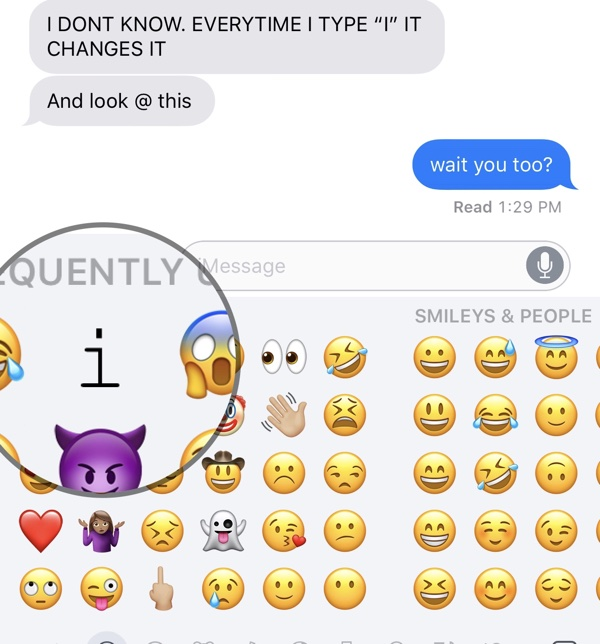 iOS 11 Predictive Text Bug Automatically Changes 'I' to 'A