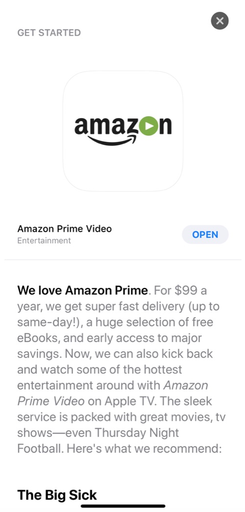 Apple Accidentally Promotes Amazon Prime Video for Apple TV