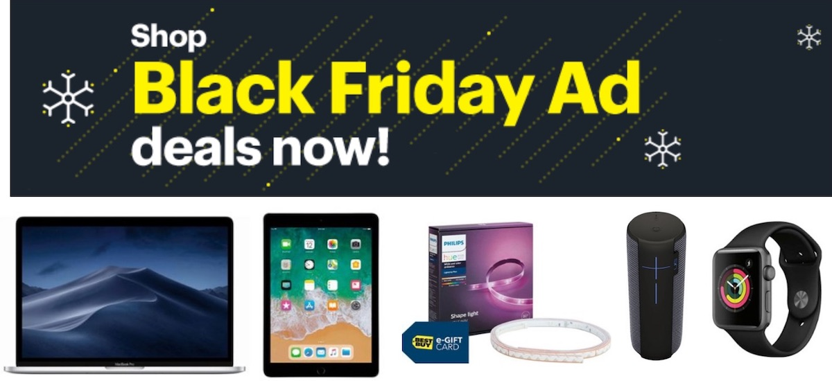 Black Friday banner of Best Buy showing a Macbook, iPad, apple watch, and a tumbler.
