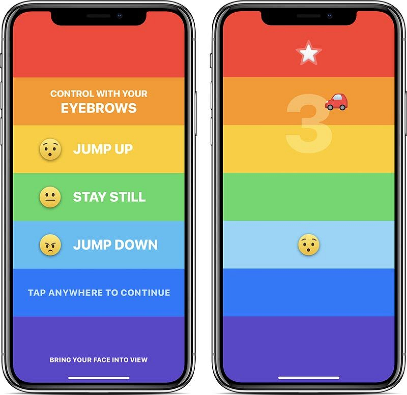 Rainbrow: New Eyebrow-Controlled Game for iPhone X Takes Advantage of TrueDepth Camera System