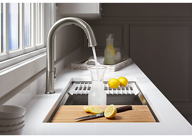 a spokeswoman for kohler told macrumors that its sensate touchless kitchen faucet and dtv shower system will be the first of the kohler konnect products to - Kohler Kitchen Sinks