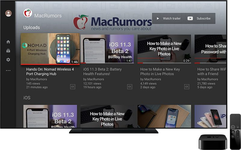 YouTube App for Apple TV Receives Major Redesign - MacRumors