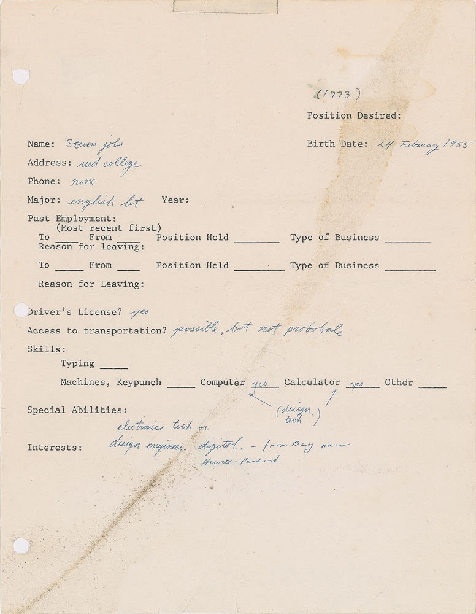 Employment Questionnaire and Two Signatures from Steve Jobs Going up for Auction