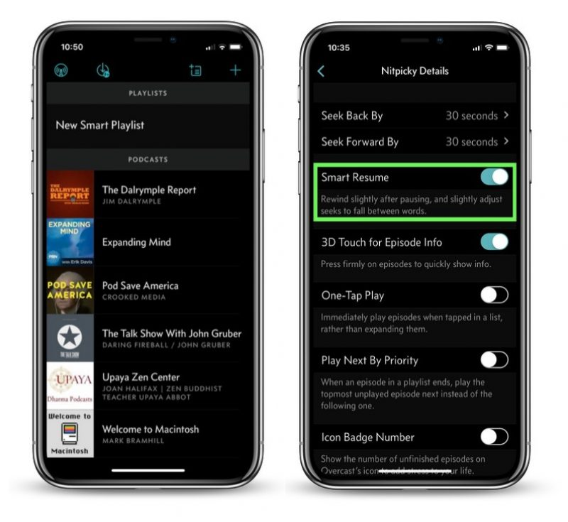overcast for ios updated with smart resume feature and 24 hour auto