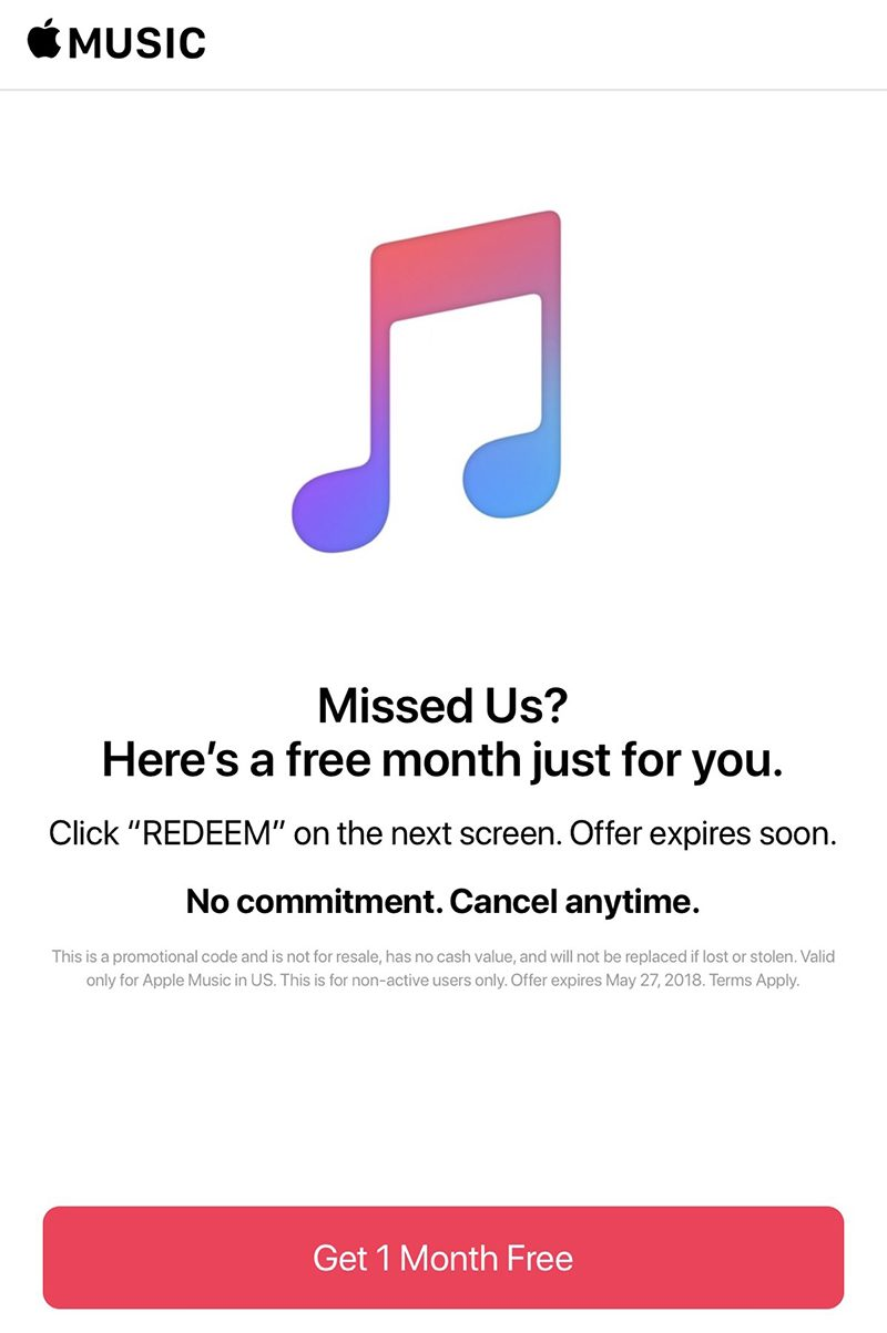 Apple Music Continues to Offer Free Extra Month to Previous Trial